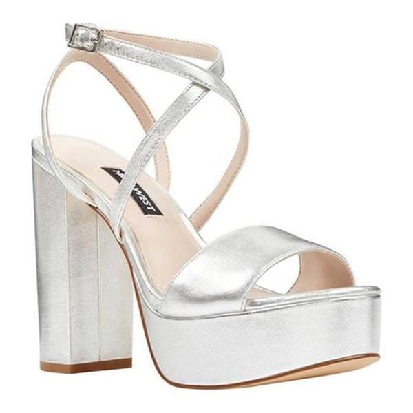 328977e34112 Nine West Women  x27 s Markando Block Heel Platform Sandal Silver Metallic