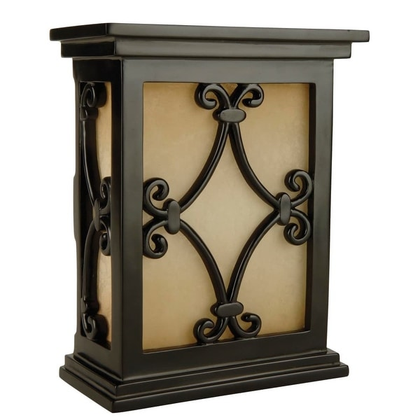 """Craftmade CH1515 Traditional 7"""" Wide Hand-Carved Door Chime with Tea-Stained Glass - black semi gloss"""