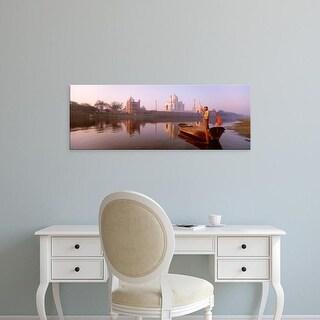 Easy Art Prints Panoramic Images's 'Mausoleum in river, Taj Mahal, Yamuna River, Agra, Uttar Pradesh, India' Canvas Art