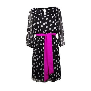 Jessica Howard Women's Belted Polka Dot Chiffon Dress - 10