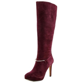 Nine West Pearson Women Pointed Toe Suede Burgundy Knee High Boot