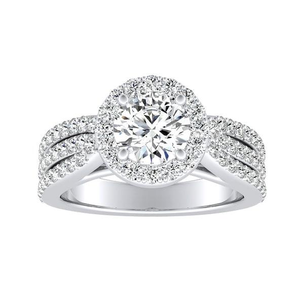 Auriya 14k Gold Triple Band Round Halo Diamond Engagement Ring 1 1/3ctw. Opens flyout.