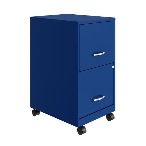 """Space Solutions 18"""" 2 Drawer Smart Vertical File Cabinet, Classic Blue"""