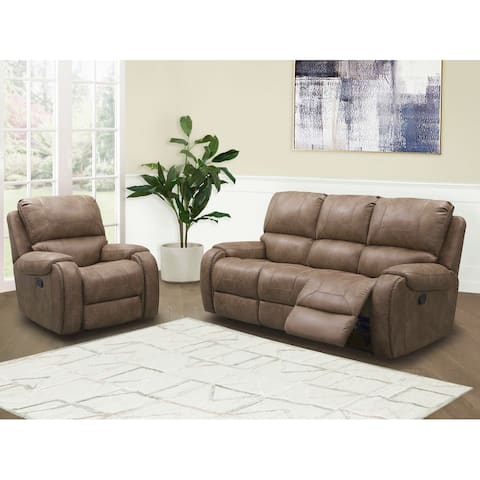 Abbyson Houston Fabric Manual Reclining Sofa and Recliner Set