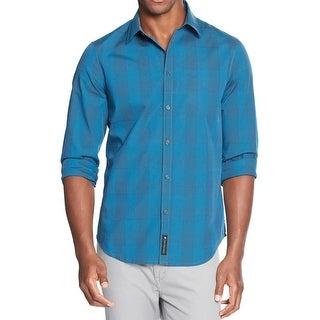 Calvin Klein Jeans Mens Button-Down Shirt Modern Fit Checkered - XL