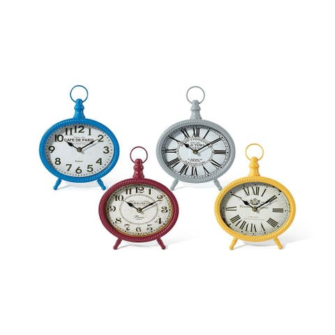Set of 4 Soothing Colored Round Sculpture Table Clocks with Hanger 11""