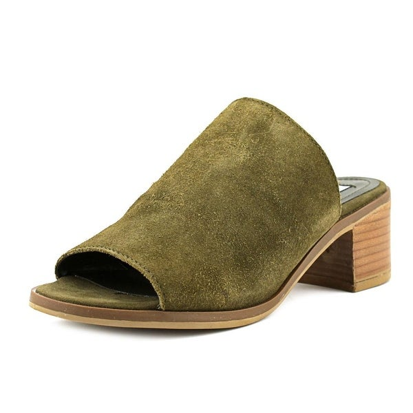 Steve Madden Richelle Women Open Toe Suede Green Slides Sandal