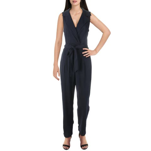 Bailey Blue Womens Jumpsuit Tapered V-Neck - Navy