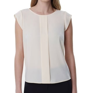 Link to Tahari By ASL Women's Blouse Beige Size XL Pleat Front Crepe Scoop Neck Similar Items in Suits & Suit Separates