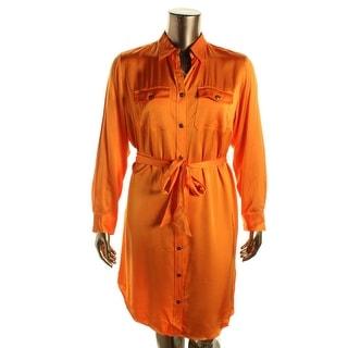 Lauren Ralph Lauren Womens Plus Sateen Button-Front Shirtdress