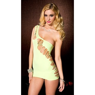 Asymmetrical Ripped Opaque Chemise, Neon Chemise - Green - One Size Fits most