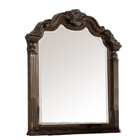 Modern Mirror with Crown Top Frame and Molded Details, Brown