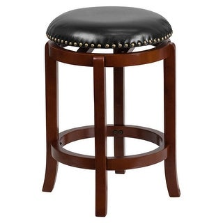 Offex 24'' Backless Design Light Cherry Wood Counter Height Stool with Black Leather Swivel Seat