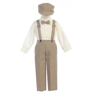 Little Boys Khaki Adjustable Clip-On Suspender Pants Hat Set 2T-7