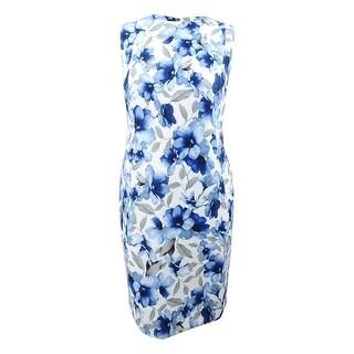 Calvin Klein Women's Plus Size Floral-Print Sheath Dress - Regatta/Ivory