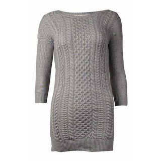 Pink Republic Women's Cable Knit Sweater Dress (Heather Grey, S)
