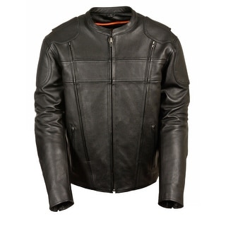 Mens Leather Vented Side Stretch Scooter Jacket