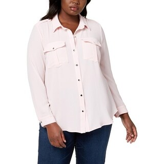 NY Collection Womens Plus Blouse Textured Button-Down - 3x