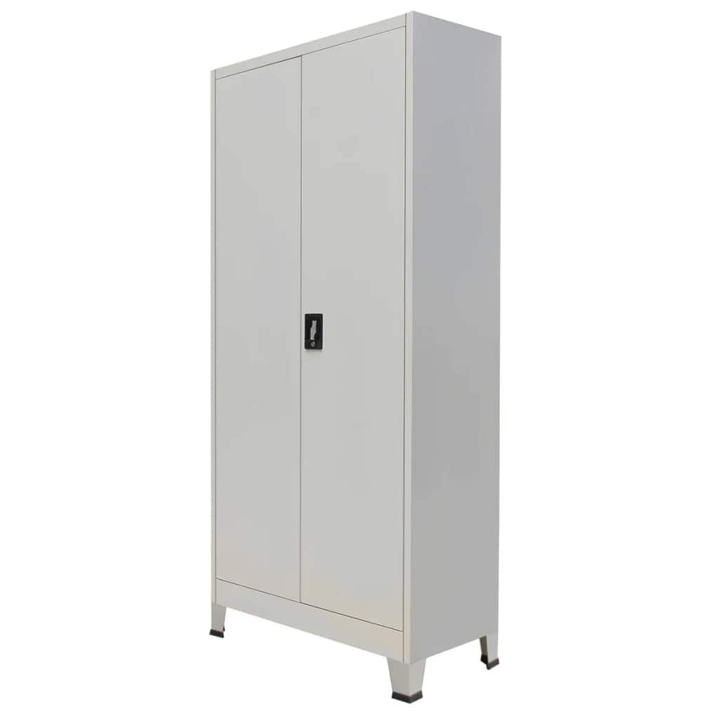 "vidaXL Office Cabinet with 30 Doors Steel 30.30""x30.30""x300.30"" Gray"