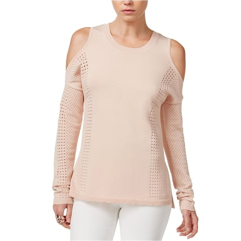 Bar III Women's Perforated Cold Shoulder Pullover Sweater (L) - Ballet Pink - Large