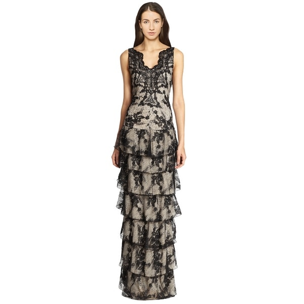 Alice & Olivia Powell Drop Waist Tiered Lace Sleeveless Evening Gown ...