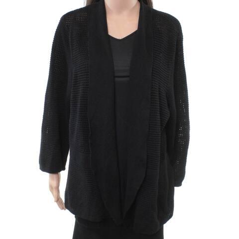 Alfani Womens Sweater Deep Black Size 2X Plus Open Stitch Cardigan