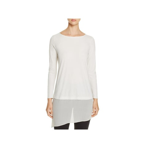 Eileen Fisher Womens Petites Pullover Top Silk Sheer Trim