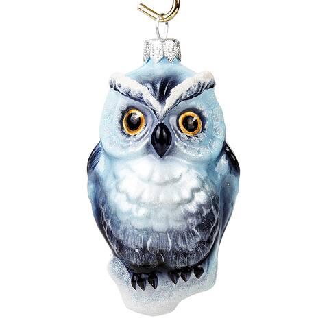 ARIEL - Snowy Owl Glass Christmas Ornament
