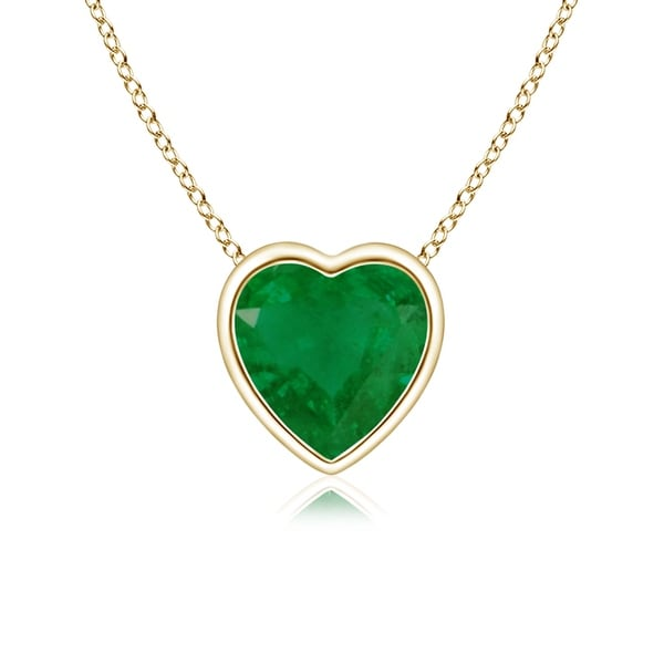 Angara Yellow Gold Heart Shaped Emerald Necklace 5yWRw1mX
