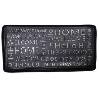 "Hello Good-Bye Boot and Shoe Tray - Large Rubber Floor Protector - 32"" x 16"" - 32 in. x 16 in."