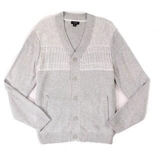 Alfani Light Gray Mens Size 3XL Ribbed Cardigan Two-Tone Sweater