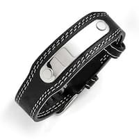 Chisel Stainless Steel and Genuine Black Leather Bracelet