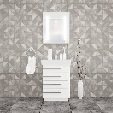 "Domenico 24"" Bathroom Vanity and Ceramic Sink Combo with LED Mirror"