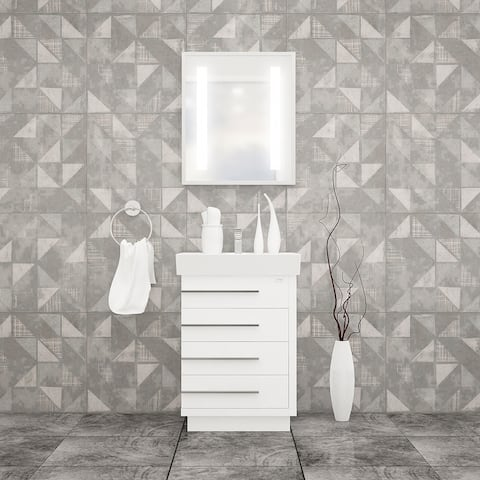 "Domenico 32"" Bathroom Vanity and Ceramic Sink Combo with LED Mirror"