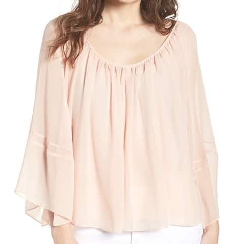 Chelsea28 Pink Flowy Chiffon Dolman Women's Size Large L Blouse