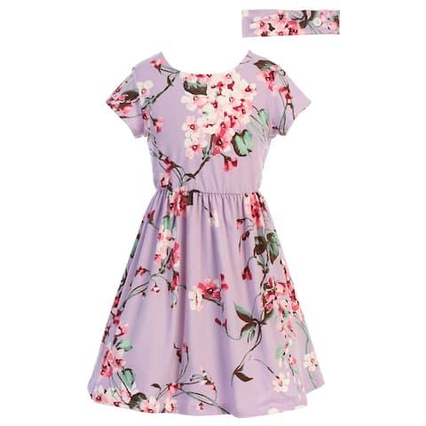 Just Kids Lilac Floral Print Short Sleeve Summer Dress Big Girls