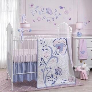 Lambs & Ivy Mackenzie Pink/Purple/White Floral Nursery 6-Piece Baby Crib Bedding Set