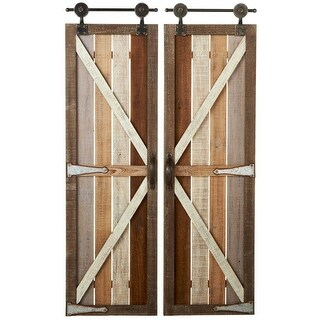 Set of 2 Pine, Oak and Mahogany Brown Assorted Barn Doors Wall Decor 50.7""