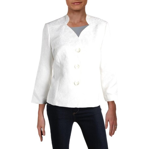 Le Suit Womens Three-Button Blazer Jacquard Office
