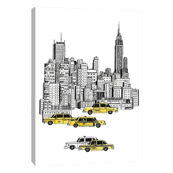 "PTM Images 9-108782 PTM Canvas Collection 10"" x 8"" - ""New York Taxis"" Giclee Empire State Building Art Print on Canvas"
