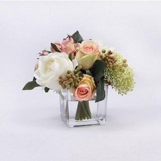 FloralGoods White and Pink Rose with Greenery Flower Arrangement with Faux Water - Green