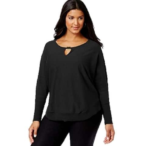 INC Women's Plus Keyhole Metal Accented Pullover Sweater, Deep Black, 2X