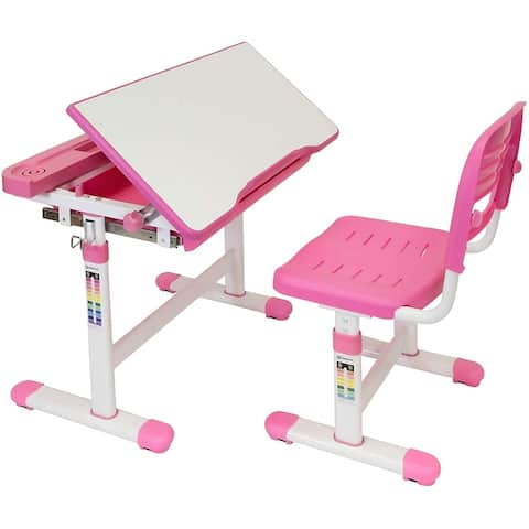 Mount-it! Kids Desk and Chair Set, Height Adjustable Pink