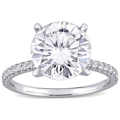 Miadora 4ct DEW Moissanite Solitaire Engagement Ring in 10k White Gold
