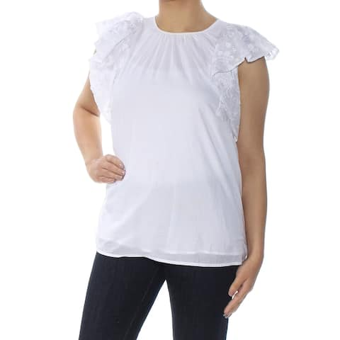 MICHAEL KORS Womens White Embroidered Flut Jewel Neck Top Size S
