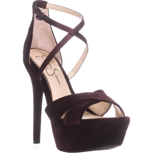 Jessica Simpson Roxelle Platform Sandals, Rouge Noir - 8.5 us