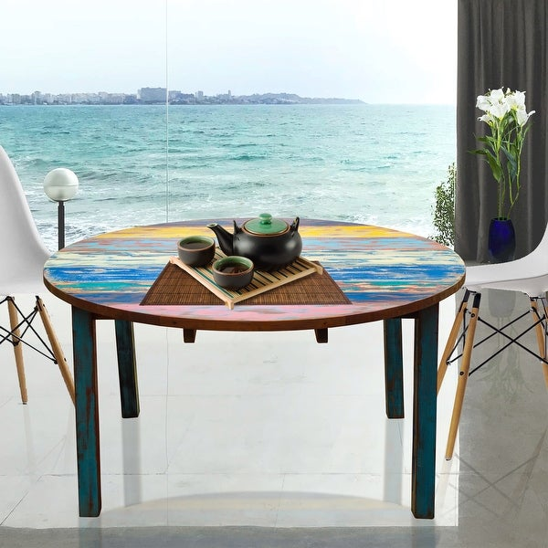 Chic Teak Round Dining Table made from Recycled Teak Wood Boats, 63 inch - Multi. Opens flyout.
