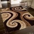 AllStar Rugs Coco Shaggy Area Rug with 3D Brown Spiral Design. Contemporary Formal Casual Hand Tufted (5' x 7') - Thumbnail 0