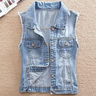 Women's Comfortable Slim Ripped Jeans Denim Jacket Sleeveless Vest Blue