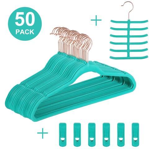 Hanger Sets Heavy Duty Velvet Hangers 50 Pack-Non Slip &Ultra Thin - 50pack